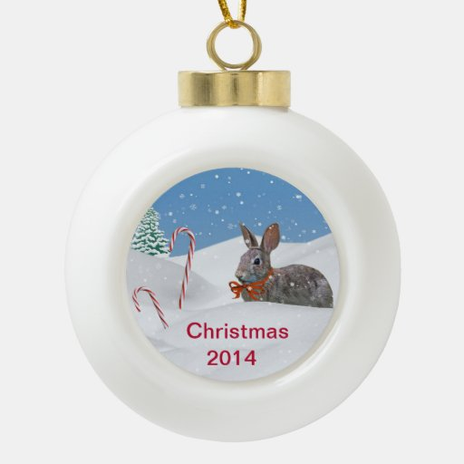Holiday Bunny Rabbit in Snow, Customizable 2014 Ornaments