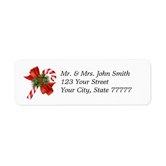 Holiday Candy Cane Address Label