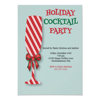 Holiday Candy Cane Cocktail Party Invitation