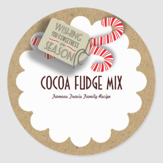 Holiday Candy Cane Craft Paper Gift Label Round Sticker