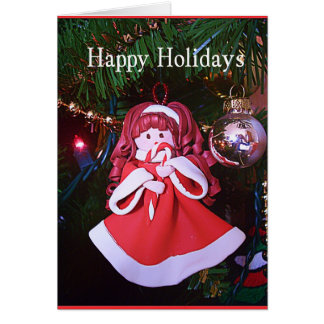 Holiday Candy Cane Girl Greeting Card