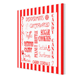 Holiday Candy Favorites Striped Canvas Wall Decor Gallery Wrap Canvas
