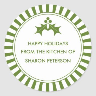 Holiday Canning Labels - Green Striped Holly Round Sticker