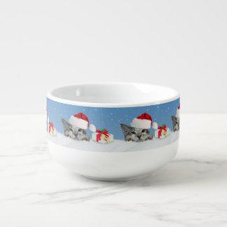 Holiday Cat in Santa Hat Soup Mug