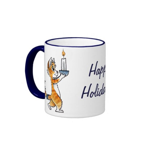 Holiday Cat with a Candle Coffee Mugs