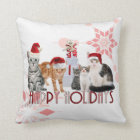 Holiday Cats Christmas | Red and Pink Snowflake Cushion