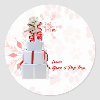 Holiday Cats Custom | Red and Pink Gift Tags
