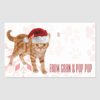 Holiday Cats Custom | Red and Pink Gift Tags Rectangular Sticker