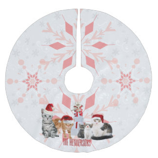 Holiday Cats Custom | Red and Pink Snowflake Brushed Polyester Tree Skirt