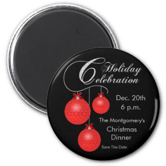 Holiday Celebration, Red Ornaments 6 Cm Round Magnet