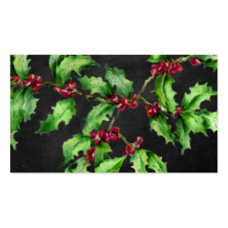Holiday Chalk Green Holly and Red Berries Branch Pack Of Standard Business Cards