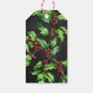 Holiday Chalk Green Holly and Red Berries Branch