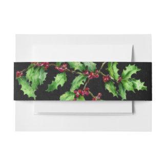 Holiday Chalk Green Holly and Red Berries Branch Invitation Belly Band