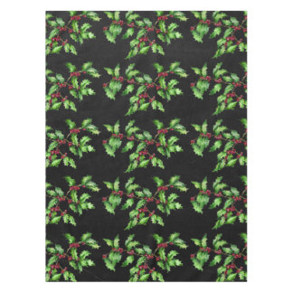 Holiday Chalk Green Holly and Red Berries Branch Tablecloth