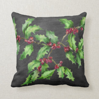 Holiday Chalk Green Holly and Red Berries Branch Throw Pillow