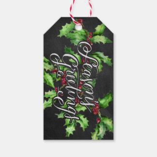 Holiday Chalk Green Holly Branch Seasons Greetings