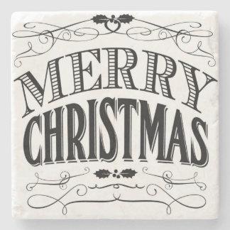 Holiday chalkboard art Merry Christmas coaster Stone Coaster