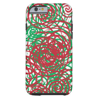 Holiday Chaos Red Green Abstract Swirl Design Tough iPhone 6 Case