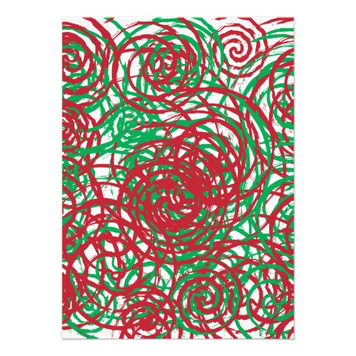 Holiday Chaos Red Green Abstract Swirl Design Personalized Announcement