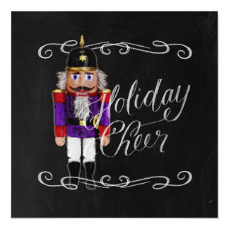 Holiday Cheer Chalkboard Purple and Red Nutcracker Card