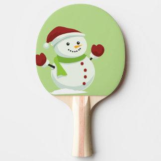 Holiday Cheer Christmas Festive Santa Snowman Ping Pong Paddle