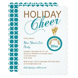 holiday cheer new years eve party invites