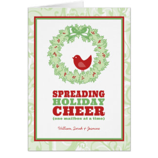 Holiday Cheer Wreath Folded Holiday Greeting Card
