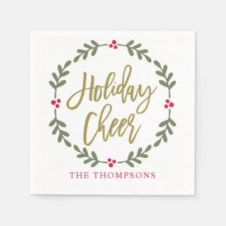 Holiday Cheer Wreath | Gold Script Paper Napkin