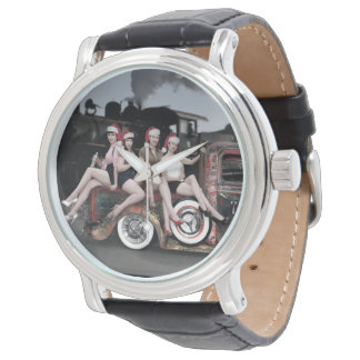 Holiday Cheers Rat Rod Santa Pin Up Girls Watch