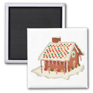 Holiday Christmas Candy Gingerbread Cottage Xmas Square Magnet