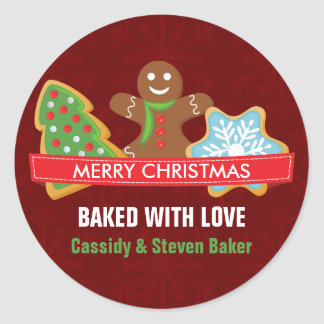 Holiday Christmas Cookie Round Sticker