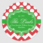 Holiday Christmas Family Name Address Classic Round Sticker