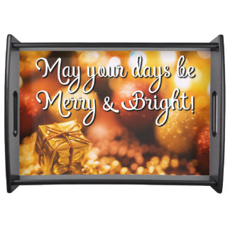 Holiday Christmas Gold Be Merry Serving Tray