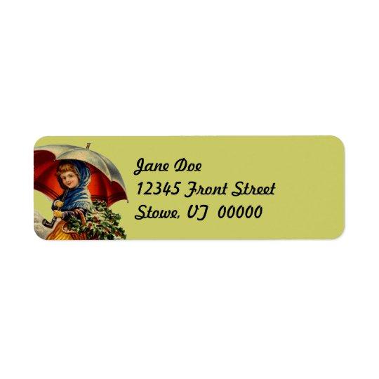 Holiday Christmas Ivy Basket Vintage Address Label