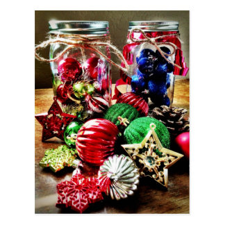 Holiday Christmas Ornaments Mason Jars Postcards