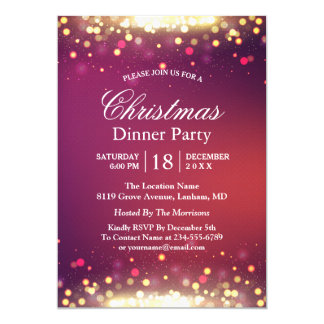 Holiday Christmas Party Glitter Gold Bokeh Lights 13 Cm X 18 Cm Invitation Card