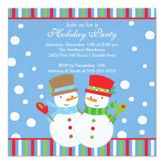 Holiday Christmas Party Invitation SNOWMEN CUTE