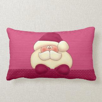 Holiday Christmas Santa in Pink Lumbar Cushion