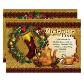 Holiday Christmas Tea Party Invitations