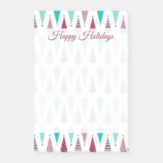 Holiday Christmas Trees Teal Mauve Post-it Notes