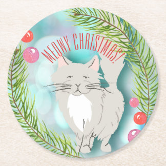 Holiday Cocktail Meowy (merry Christmas) Round Paper Coaster