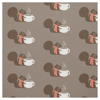 Holiday Coffee Squirrel Fabric