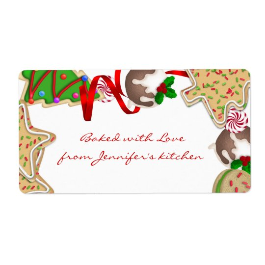 Holiday Cookie Border Label Shipping Label