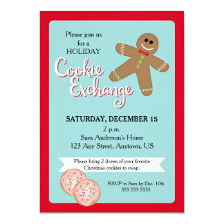 Holiday Cookie Exchange, Gingerbread Man 13 Cm X 18 Cm Invitation Card