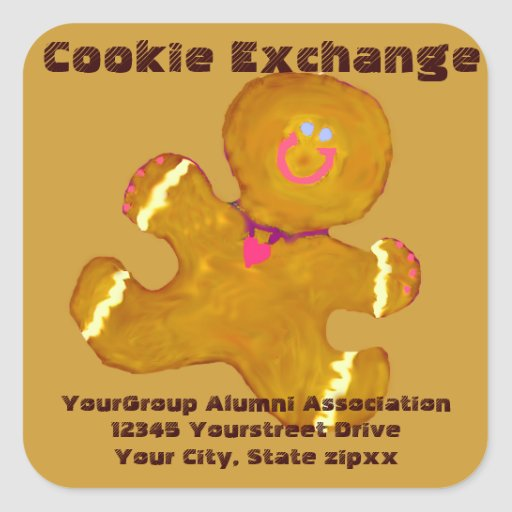 Holiday Cookie Exchange return address Square Stickers