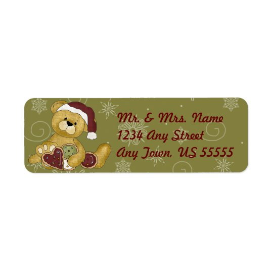 Holiday Cookie Teddy Bear Address Labels