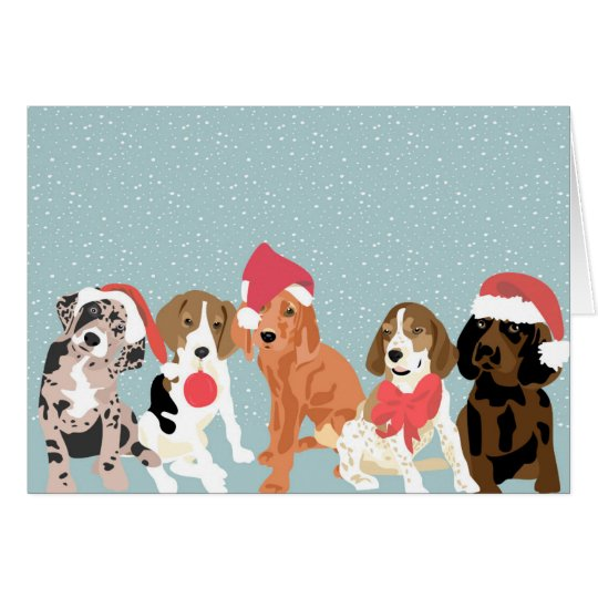 Holiday Coonhound puppies (blank inside) Card