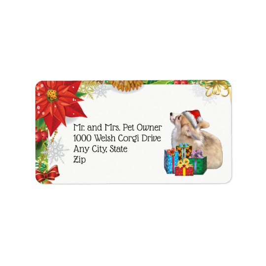 Holiday Corgi Puppy with Presents Label