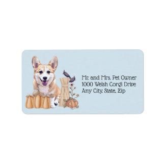 Holiday Corgi Puppy with Pumpkins Label