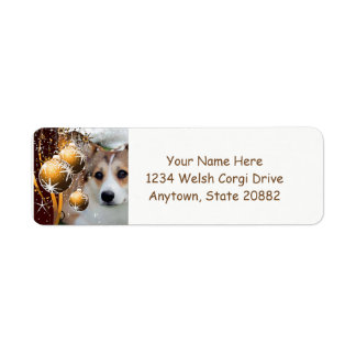 Holiday Corgi with Bulbs Return Address Label